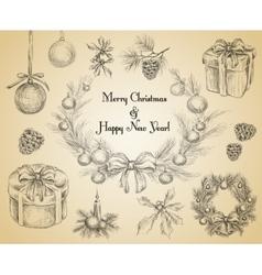 Christmas decoration sketch vector image