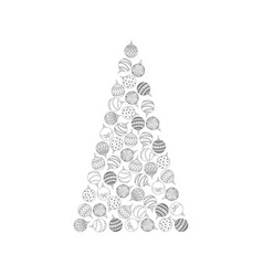 christmas tree from doodle christmas tree ball toy vector image vector image
