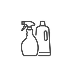 Cleaning spray and shampoo line icon cleanser vector