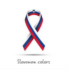Colored ribbon with the slovenian tricolor vector