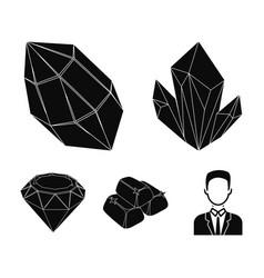 Crystals minerals gold bars precious minerals vector
