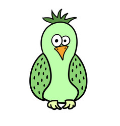 cute cartoon green bird parrot vector image vector image