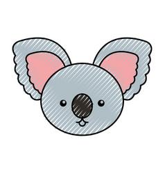 cute scribble koala face cartoon vector image vector image