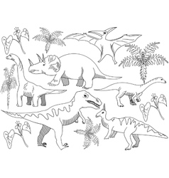 Dinosaur Coloring book for adults vector image