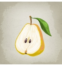 Half of the pear with leaf vector image vector image