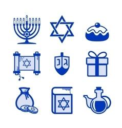 Hanukkah icons set vector image vector image