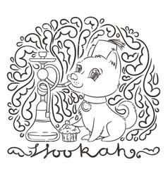 Happy golden cartoon puppy smoking hookah in vector