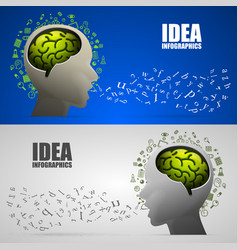 Head with brain logic letters voice vector