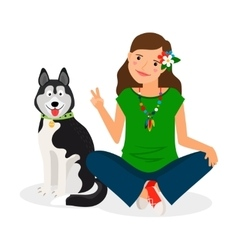 Hippie Girl with Dog vector image vector image