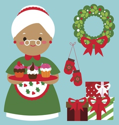 Holiday card grandmother with pies and festive vector