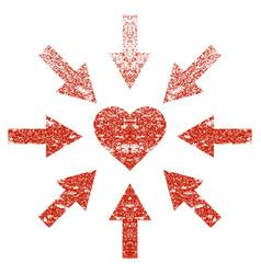 Impact love heart grunge texture icon vector