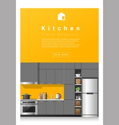 Interior design modern kitchen banner 5 vector