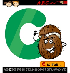 letter c with coconut cartoon vector image