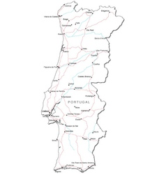 Portugal Black White Map vector image vector image
