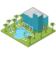 Resort hotel building isometric view vector