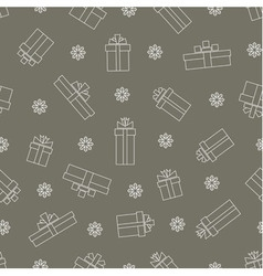 Seamless pattern of simple linear gift boxes vector