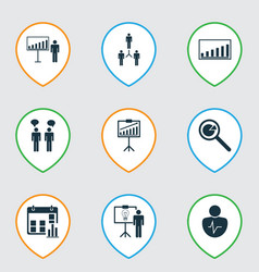 Set of 9 executive icons includes company vector