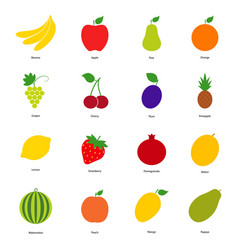Set of color fruit icons and berry icons vector
