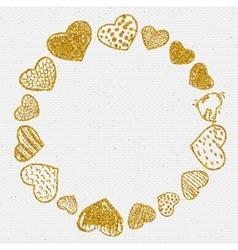 Set of doodle hearts frame vector image vector image