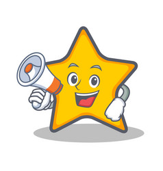 Star character cartoon style with megaphone vector
