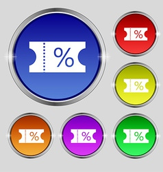 Ticket discount icon sign round symbol on bright vector