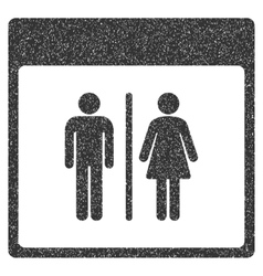 Toilet persons calendar page grainy texture icon vector