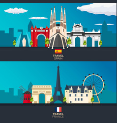 Travel to spain and france skyline flat vector