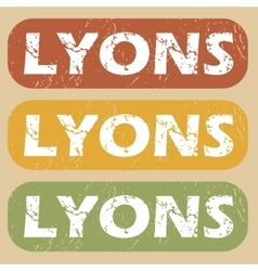 Vintage lyons stamp set vector