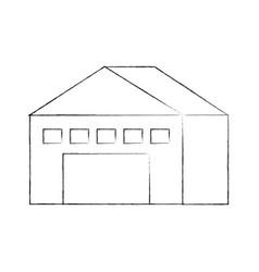 Warehouse building exterior commercial empty vector