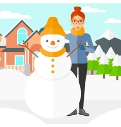 Woman posing near snowman vector