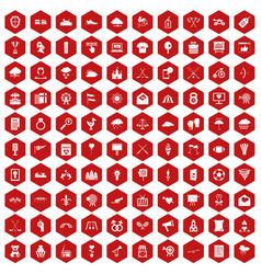 100 arrow icons hexagon red vector