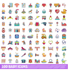 100 baby icons set cartoon style vector image vector image