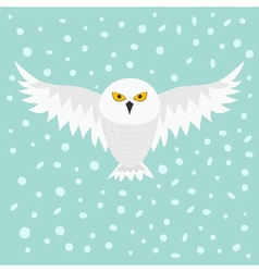 Snowy white owl flying bird with big wings yellow vector