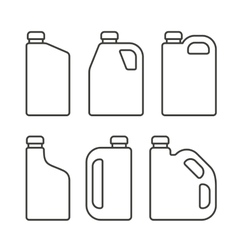 Blank white plastic canisters icons set for motor vector