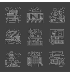 Security control white line detailed icons vector