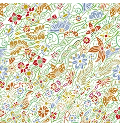 Pattern with garden flowers vector
