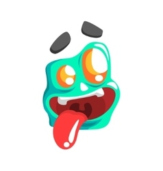 Silly blue emoji cartoon square funny emotional vector