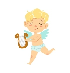Boy baby cupid with lira winged toddler in diaper vector
