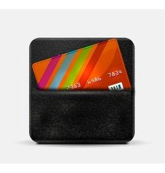 Leather wallet for credit cards vector