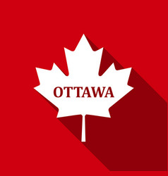 Canadian maple leaf with city name ottawa flat vector