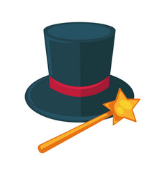 realistic magician dark hat with purple ribbon and vector image