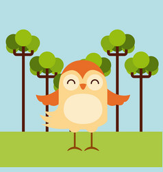 cute animal over landscape vector image