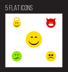 Flat icon emoji set of frown pouting cross-eyed vector