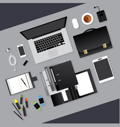 Flat design business workplace concept vector