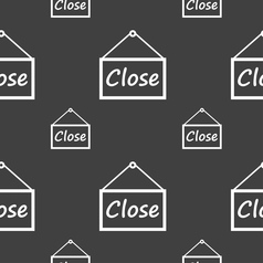 Close icon sign seamless pattern on a gray vector