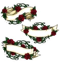 Ribbon banners with roses around vector