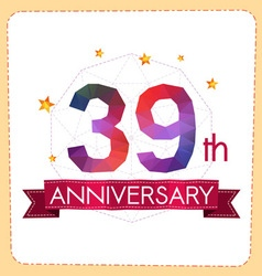 Colorful polygonal anniversary logo 2 039 vector