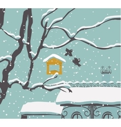 Winter city landscape vector