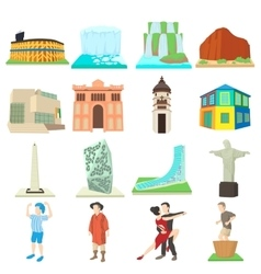 Argentina travel icons set cartoon style vector