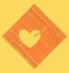 Arrow heart sign red scribble icon vector